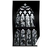Stained Glass Window In Black and White Poster
