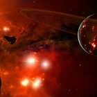 A young ringed planet with glowing lava and asteroids. by StocktrekImages