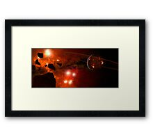 A young ringed planet with glowing lava and asteroids. Framed Print