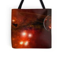 A young ringed planet with glowing lava and asteroids. Tote Bag