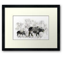 Rhino and Baby Framed Print