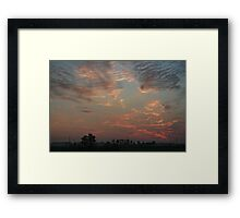 Sky fire in village early morning Framed Print