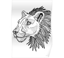Feather maned lion Poster
