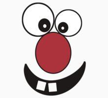 Funny Cartoon Face Kids T-Shirt and Sticker Kids Tee