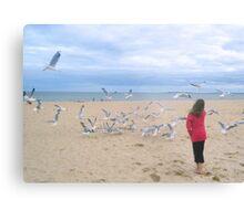 Chasing Gulls Metal Print