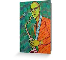 336 - THE SAX PLAYER - DAVE EDWARDS - COLOURED PENCILS - 2011 Greeting Card