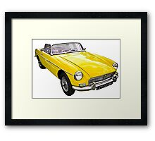 Yellow convertible MG classic car Framed Print