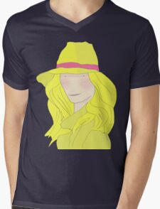 Girl In Hat With Purple Ribbon Mens V-Neck T-Shirt