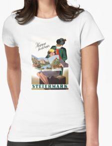 Steiermark Styria Vintage Travel Poster Restored Womens Fitted T-Shirt