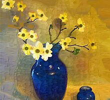 Dogwood in a Cobalt Blue Vase by suzannem73