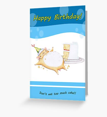 Happy Birthday from Greedy Hamster (blue) Greeting Card