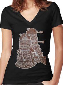 Doodle Daleks Women's Fitted V-Neck T-Shirt