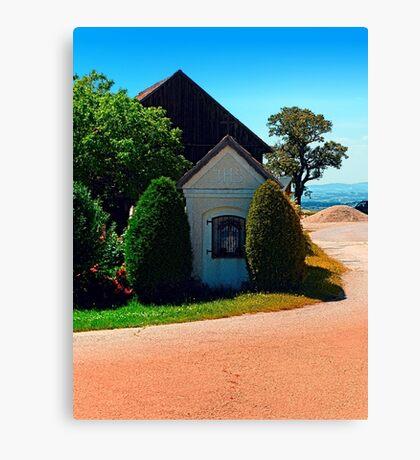 Traditional wayside chapel ensemble Canvas Print