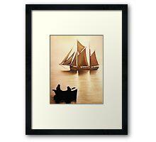 Boats In Sun Light Framed Print