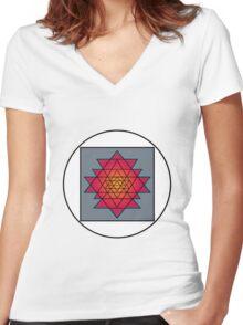 Sri Yantra Women's Fitted V-Neck T-Shirt