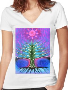 Electric Tree Women's Fitted V-Neck T-Shirt