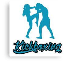 Kickboxing Female Knee Blue  Canvas Print