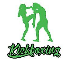 Kickboxing Female Knee Green  Photographic Print