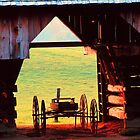 WAGON IN BARN by Chuck Wickham