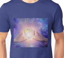Hands with a Glowing Earth Unisex T-Shirt
