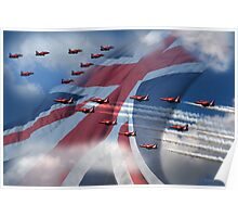 Red Over union jack Poster