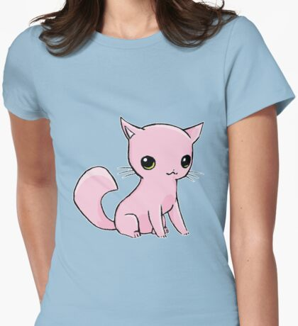Myu the Candyfloss Cat Womens Fitted T-Shirt