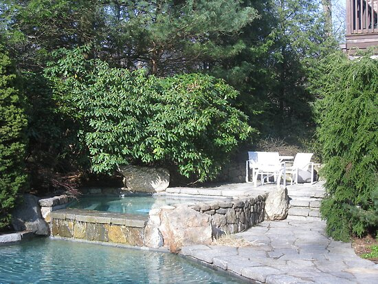 Jacuzzi with Rhododendrum and Private Seating Area by fionahoratio
