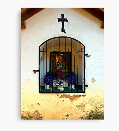The old traditional forest chapel in detail Canvas Print