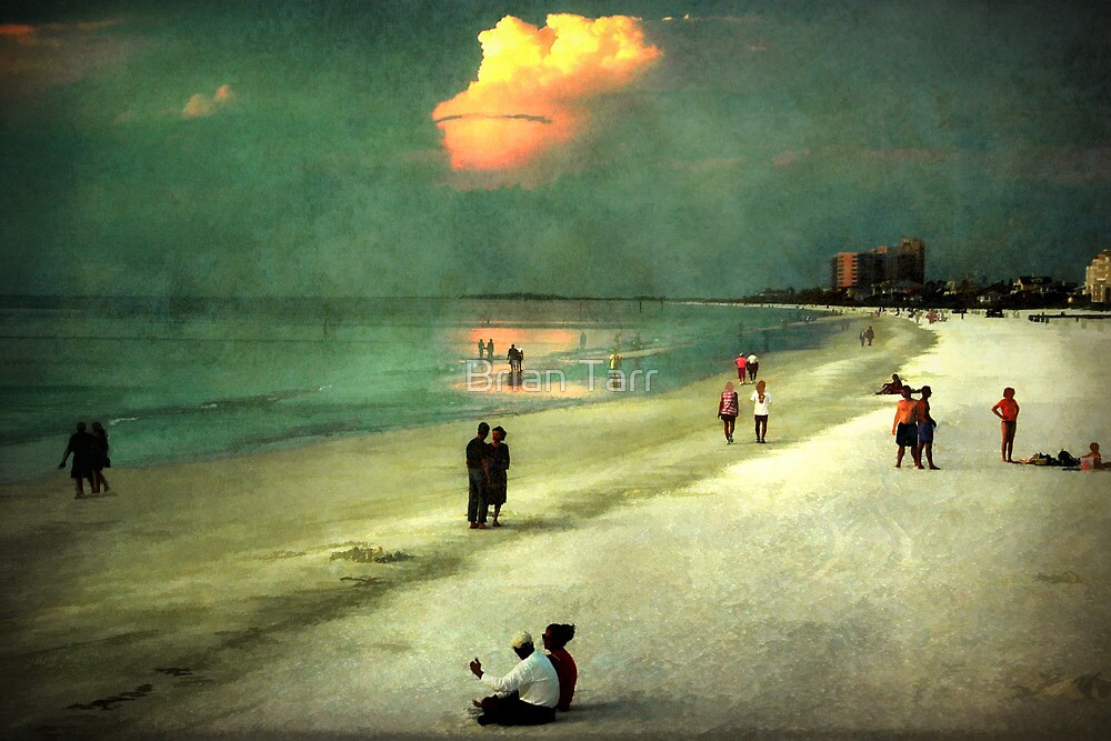 Clearwater beach at dusk by Tarrby