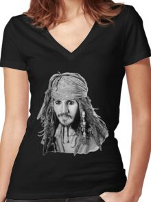 Captain Jack Sparrow (b/w) Women's Fitted V-Neck T-Shirt