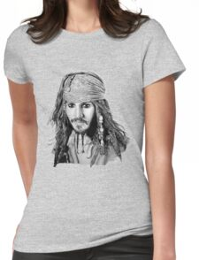 Captain Jack Sparrow (b/w) Womens Fitted T-Shirt
