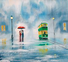 Rainy day couple with a red umbrella painting  by gordonbruce