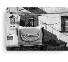 Italian wash day in black and white Canvas Print