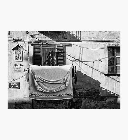 Italian wash day in black and white Photographic Print