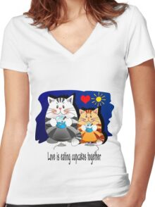 Love is eating cupcakes together Women's Fitted V-Neck T-Shirt