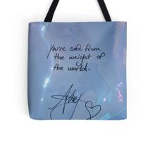"""All Time Low """"You're safe from the weight of the world"""" - Alex Gaskarth Signature Tote Bag"""