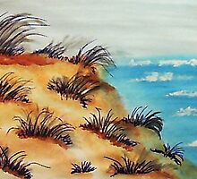 Looking Out Over the Bluff on Sand Dunes, watercolor by Anna  Lewis