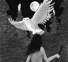 Wisdom - Sophia with Owls on Moonlit Night by David Hayward