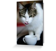 purrfect cappuccino, cat and coffee cup Greeting Card