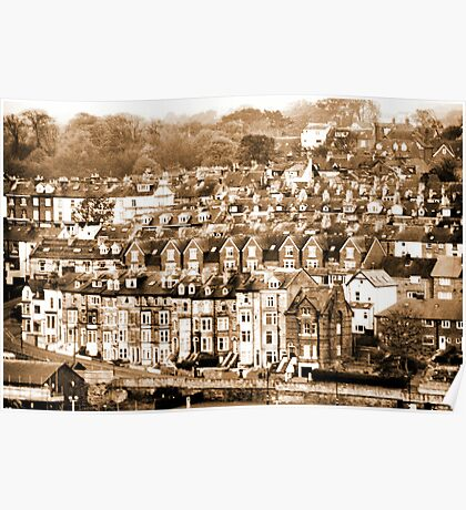 The Olde Worlde Whitby Harbour Houses Poster