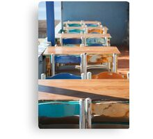 Wooden Table and Chairs Canvas Print