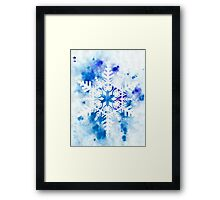 Papercut Snowflake with Blue Watercolor Framed Print