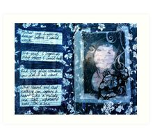Altered book page- I am the girl with golden hair! Art Print