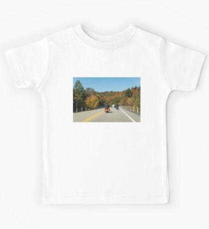 Joyful Autumn Ride - Bikers Know the Best Roads Kids Tee