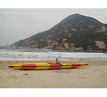 Moo Moo is asking for a push out into the surf to go kakhing Photographic Print