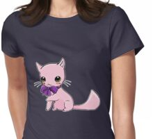 Myu the Candyfloss Cat... wearing a bow! Womens Fitted T-Shirt
