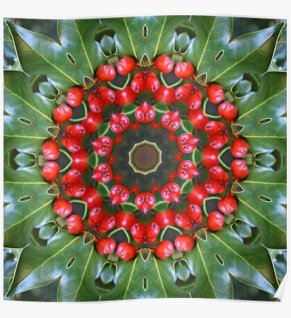Holly Kaleidoscope Poster