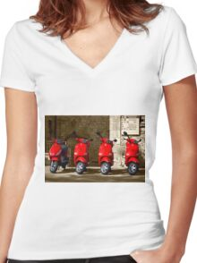 chianti scooters, Radda in Chianti, Tuscany, Italy Women's Fitted V-Neck T-Shirt