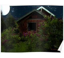 Lilac Cottage by Moonlight Poster