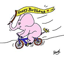 Ellie Elephant on Bike - Happy Birthday by Mike HobsoN